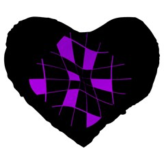 Purple Abstract Flower Large 19  Premium Heart Shape Cushions by Valentinaart