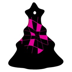 Pink Abstract Flower Christmas Tree Ornament (2 Sides) by Valentinaart