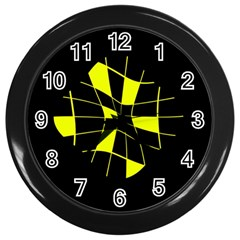 Yellow Abstract Flower Wall Clocks (black) by Valentinaart