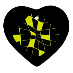 Yellow Abstract Flower Heart Ornament (2 Sides) by Valentinaart