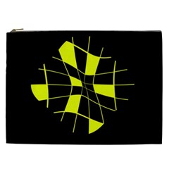 Yellow Abstract Flower Cosmetic Bag (xxl)  by Valentinaart