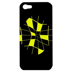 Yellow Abstract Flower Apple Iphone 5 Hardshell Case by Valentinaart