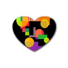 Colorful Abstraction Rubber Coaster (heart)  by Valentinaart