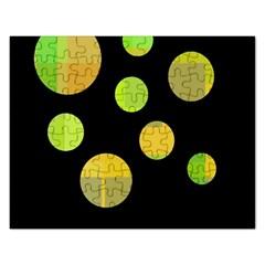 Green Abstract Circles Rectangular Jigsaw Puzzl by Valentinaart