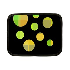 Green abstract circles Netbook Case (Small)  by Valentinaart