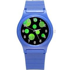 Green Circles Round Plastic Sport Watch (s) by Valentinaart