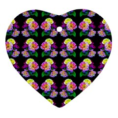 Rosa Yellow Roses Pattern On Black Heart Ornament (2 Sides) by Costasonlineshop