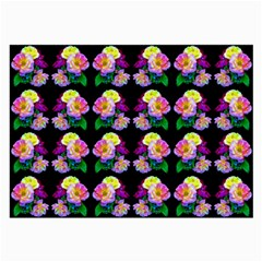 Rosa Yellow Roses Pattern On Black Large Glasses Cloth by Costasonlineshop
