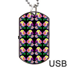 Rosa Yellow Roses Pattern On Black Dog Tag Usb Flash (two Sides)  by Costasonlineshop