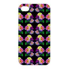 Rosa Yellow Roses Pattern On Black Apple Iphone 4/4s Hardshell Case by Costasonlineshop