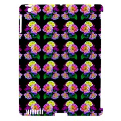 Rosa Yellow Roses Pattern On Black Apple Ipad 3/4 Hardshell Case (compatible With Smart Cover) by Costasonlineshop