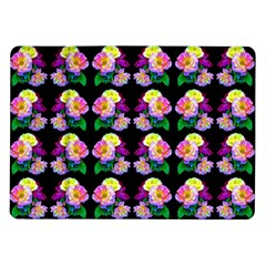 Rosa Yellow Roses Pattern On Black Samsung Galaxy Tab 10 1  P7500 Flip Case by Costasonlineshop