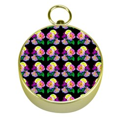 Rosa Yellow Roses Pattern On Black Gold Compasses by Costasonlineshop