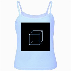 Simple Cube Baby Blue Spaghetti Tank by Valentinaart