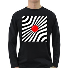 Abstract Red Ball Long Sleeve Dark T Shirts by Valentinaart