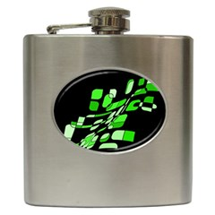 Green Decorative Abstraction Hip Flask (6 Oz) by Valentinaart