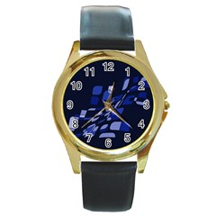 Blue Abstraction Round Gold Metal Watch by Valentinaart