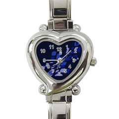 Blue Abstraction Heart Italian Charm Watch by Valentinaart