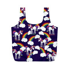 Retro Rainbows And Unicorns Full Print Recycle Bags (m)  by BubbSnugg