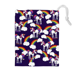 Retro Rainbows And Unicorns Drawstring Pouches (extra Large) by BubbSnugg