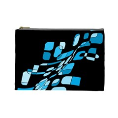 Blue Abstraction Cosmetic Bag (large)  by Valentinaart