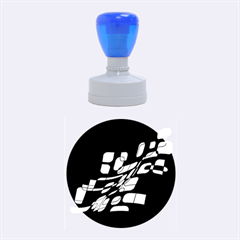 Blue Abstraction Rubber Round Stamps (medium) by Valentinaart
