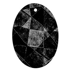 Dark Geometric Grunge Pattern Print Oval Ornament (two Sides) by dflcprints