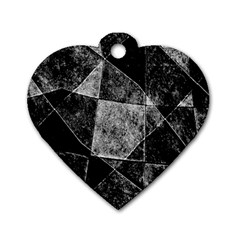 Dark Geometric Grunge Pattern Print Dog Tag Heart (two Sides) by dflcprints