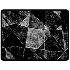 Dark Geometric Grunge Pattern Print Fleece Blanket (large)  by dflcprints