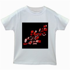 Orange Abstraction Kids White T Shirts by Valentinaart