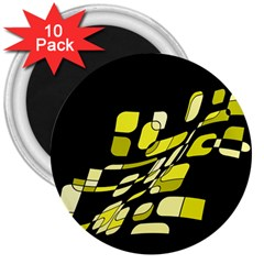 Yellow Abstraction 3  Magnets (10 Pack)  by Valentinaart
