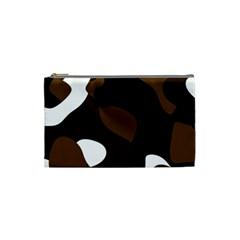 Black Brown And White Abstract 3 Cosmetic Bag (small)  by TRENDYcouture