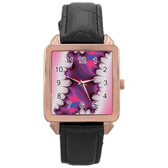 Liquid Roses Rose Gold Leather Watch  by TRENDYcouture