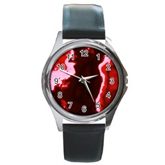 Crimson Sky Round Metal Watch by TRENDYcouture