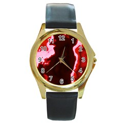 Crimson Sky Round Gold Metal Watch by TRENDYcouture