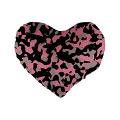 Kitty Camo Standard 16  Premium Flano Heart Shape Cushions by TRENDYcouture