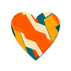 Shapes In Retro Colors                                                                                  			magnet (heart) by LalyLauraFLM