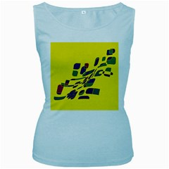 Yellow Abstraction Women s Baby Blue Tank Top by Valentinaart