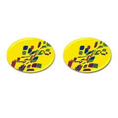 Yellow abstraction Cufflinks (Oval) by Valentinaart
