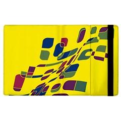 Yellow abstraction Apple iPad 2 Flip Case by Valentinaart