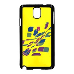Yellow abstraction Samsung Galaxy Note 3 Neo Hardshell Case (Black) by Valentinaart