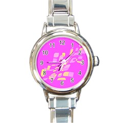Pink Abstraction Round Italian Charm Watch by Valentinaart