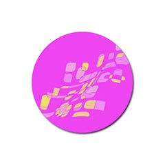 Pink Abstraction Rubber Coaster (round)  by Valentinaart