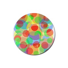 Colorful Circles Rubber Coaster (round)  by Valentinaart