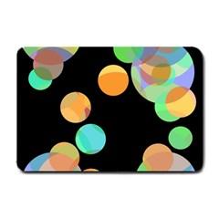 Orange circles Small Doormat  by Valentinaart
