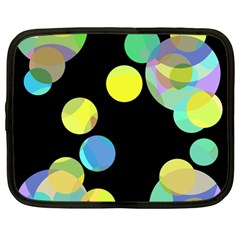 Yellow Circles Netbook Case (large) by Valentinaart