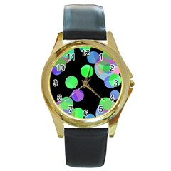 Green Decorative Circles Round Gold Metal Watch by Valentinaart