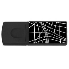 Black and white elegant lines USB Flash Drive Rectangular (2 GB)  by Valentinaart