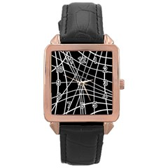 Black and white elegant lines Rose Gold Leather Watch