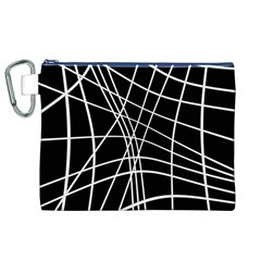 Black And White Elegant Lines Canvas Cosmetic Bag (xl) by Valentinaart